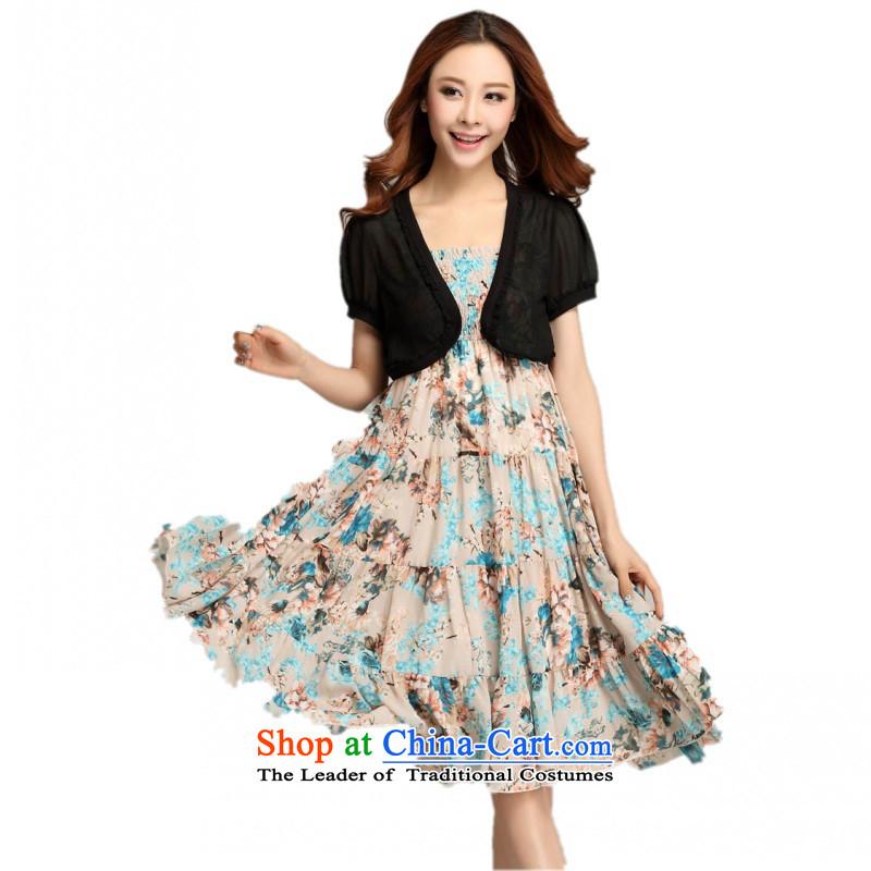 C.o.d. Package Mail 2015 Summer new stylish casual temperament classic xl thick MM gentlewoman stylish chiffon small jacket Bohemia slips apricot XXXXL