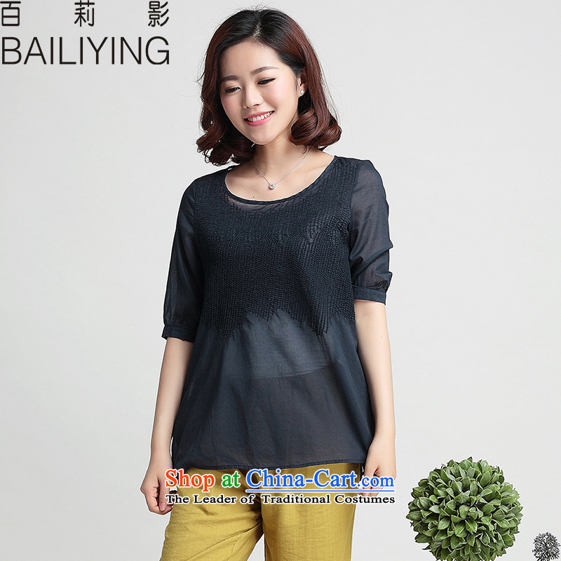 Li Ying summer hundreds of new large mm thick loose short-sleeved Korean version compassionate in thin long round-neck collar short-sleeved T-shirt shirt dolls female navy 2XL