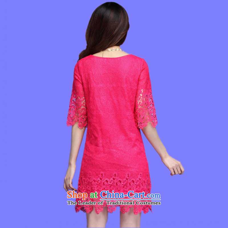 C.o.d. Package Mail 2015 Summer new stylish casual temperament classic xl horn Cuff Positioning lace flower loose 7 cuff dresses, forming the skirt red XXXL, land still El Yi shopping on the Internet has been pressed.