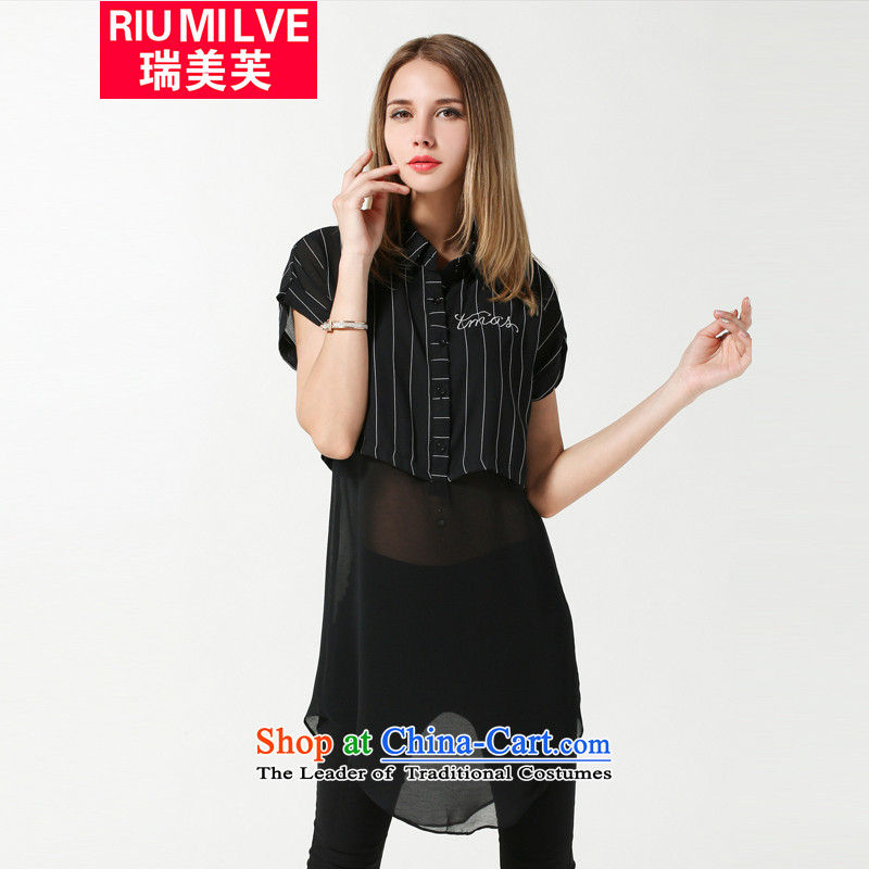 Rui Mei to larger women 2015 Summer new thick mm loose video thin stripes stitching short-sleeved shirt that chiffon long leave two T-shirts are black聽XXXXL 3 633