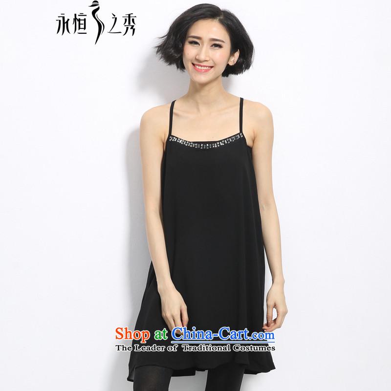 The Eternal-soo to XL 2015 Summer thick mm new Korean version of large code vests Sau San Tai A swing crystal diamond slips BlackXL