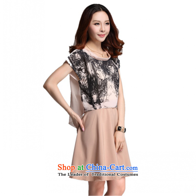 C.o.d. 2015 Summer new stylish casual temperament classic high fashion stamp bat sleeves chiffon leave two successive spell dresses khakiXL