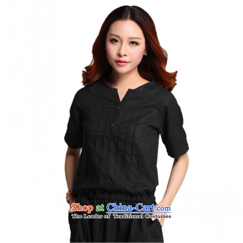 C.o.d. Package Mail 2015 Summer new stylish classic Korean leisure temperament xl loose cotton stitching of ethnic Sau San short-sleeved blackXXXXL dresses