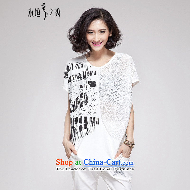 The Eternal Soo-to increase women's code 200 catties T-shirt thick sister Summer 2015 new product expertise, Hin thick mm thin, lace stitching loose white t-shirt will _120-150 small coal to pass through_