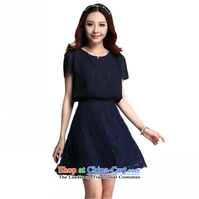 C.o.d. Package Mail 2015 Summer new stylish classic Korean leisure temperament xl thick MM Sau San lace leave two chiffon short-sleeved blue skirt XXL