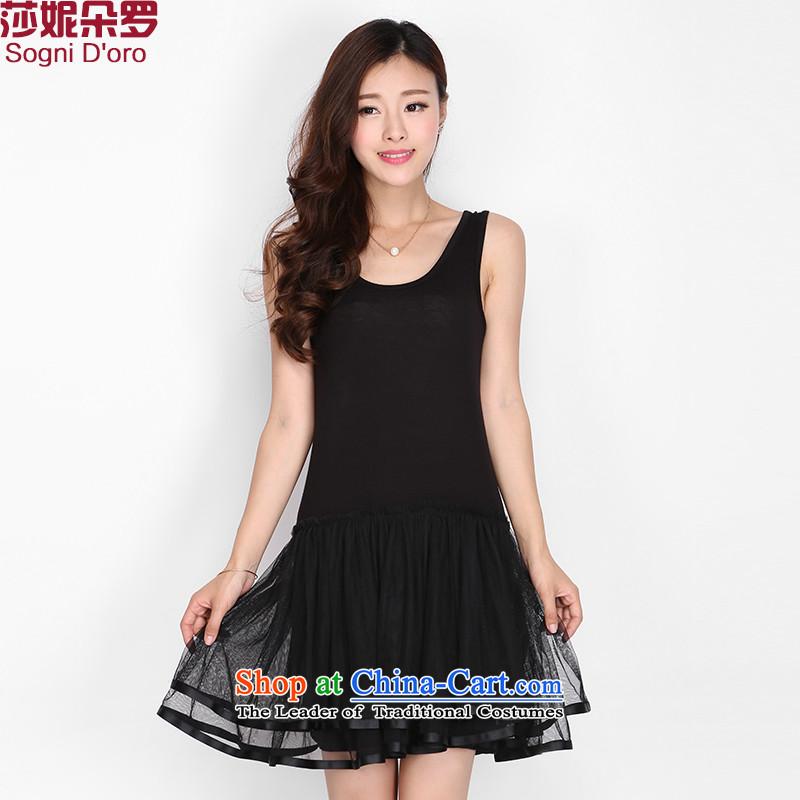 Luo Shani flower code women thick mm2015 summer Korean video thin, Sau San gauze vest dresses�L 2128 Black