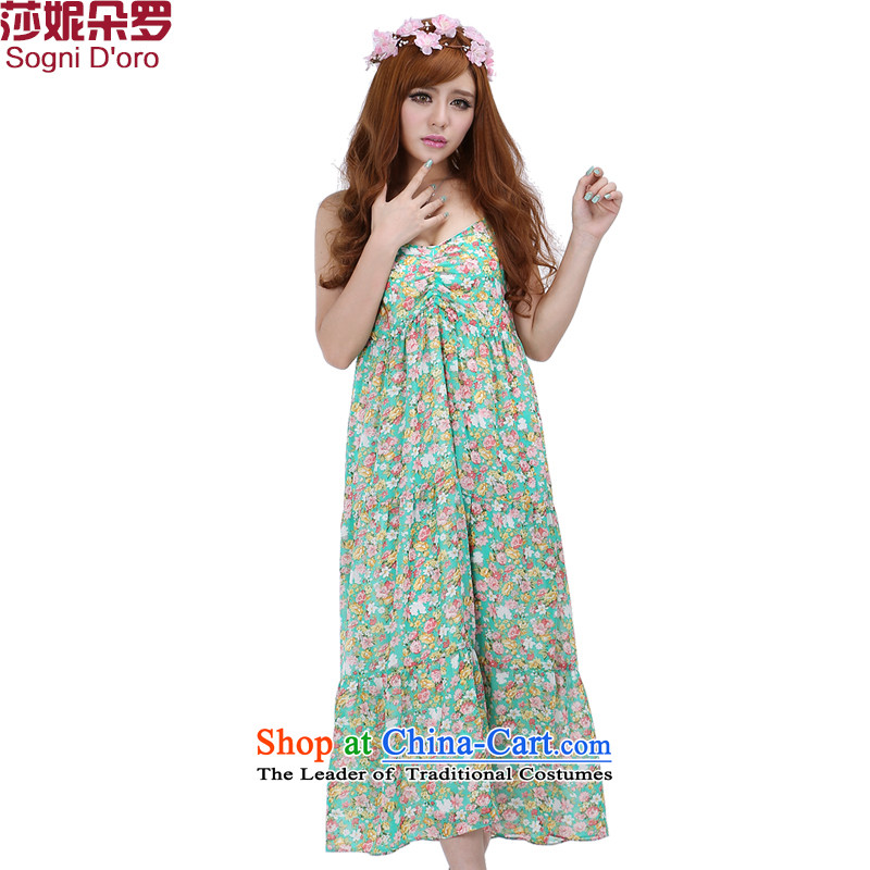 Shani flower lo xl female thick sister summer catty to increase 200 long skirt thick, Hin thin, dresses 6238 light green聽4XL