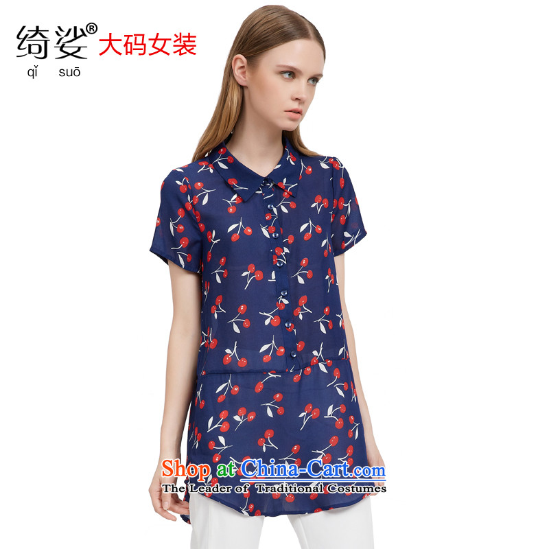 As provided for large female thick MM summer new Korean cherry chiffon shirt video stamp thin short-sleeved shirt, long聽 2763聽Royal Blue聽4XL