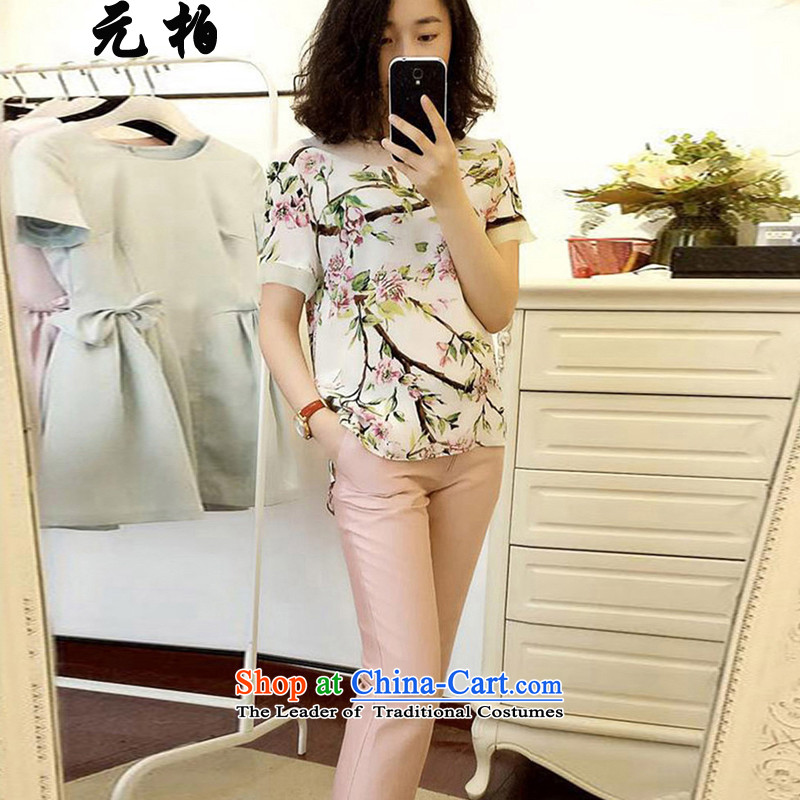 In Europe and the Summer Park large new women's two kits stamp silk short-sleeved T-shirt + Capri Map Color 1787 180-195 5XL around 922.747