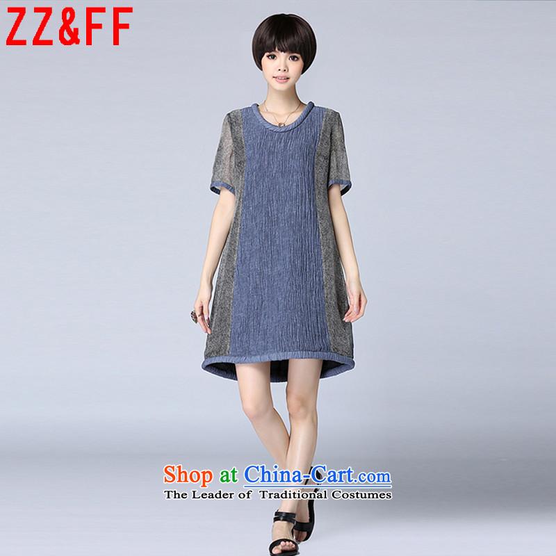 2015 Summer Zz_ff new linen streaks stitching large relaxd dress dresses summer燣YQ7027 female燘lue燤