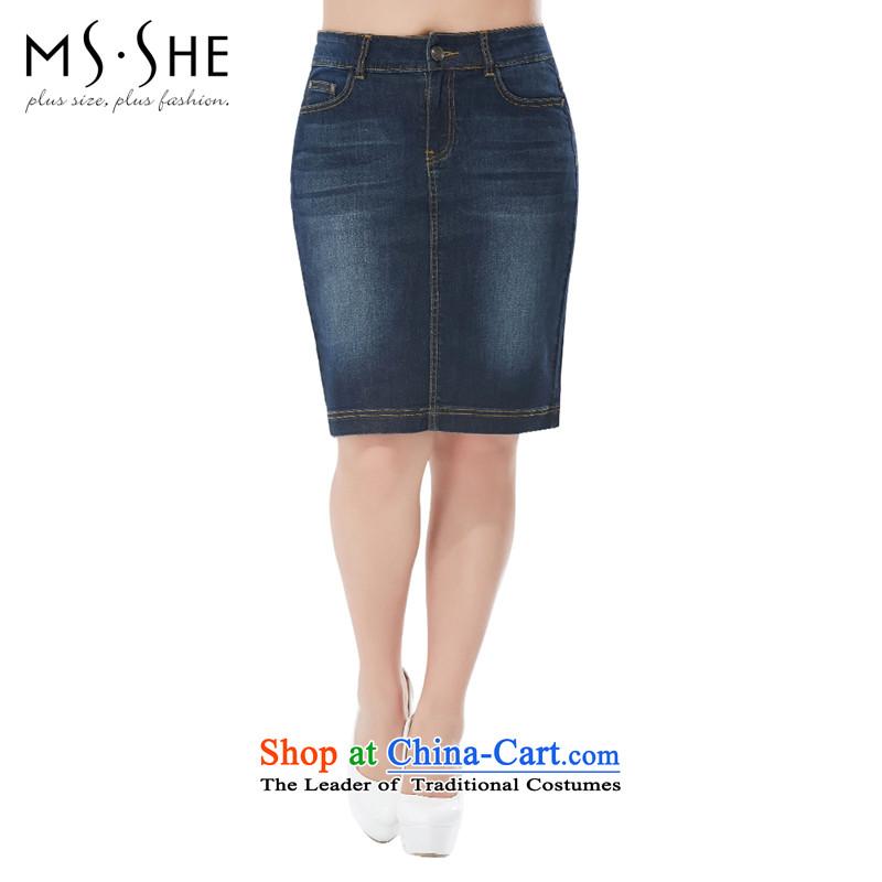 Msshe xl women 2015 new boxed in elastic waist-chiu and cowboy body skirt 4058 dark blue�L