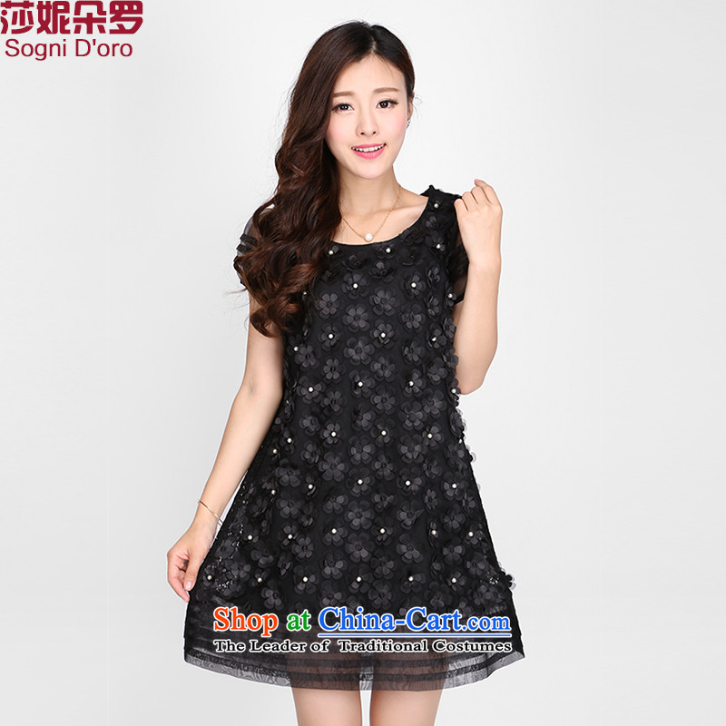 Luo Shani flower code women for summer 2015 lace beaded dresses temperament Sau San A Word 2124 Black�L skirt