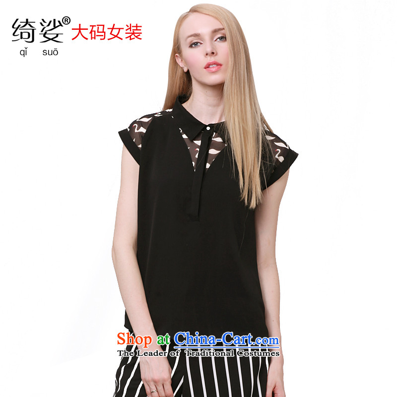 As provided for large female thick MM summer new Korean market wild video thin black short-sleeved white shirts poverty� 2767燘lack�L