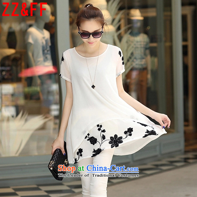 2015 Summer Zz_ff new chiffon stamp Sau San dresses female聽LYQ5064 A WHITE聽L