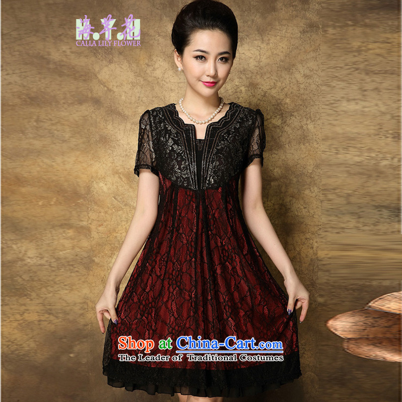 The sea route to spend the summer of new hot won drill collars in half sleeve long nets larger dresses 4081-I wine red�L