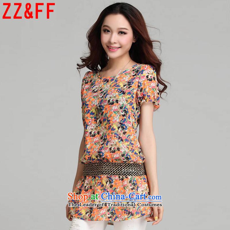 2015 Summer Zz_ff new larger female body decorated foutune chiffon shirt female saika long female XFS5255 ORANGE燲XL