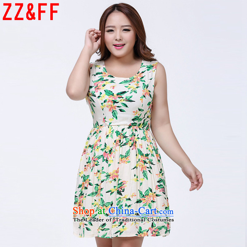 2015 Summer Zz_ff new large round-neck collar stamp Sau San video thin thick sister dresses female聽LYQ聽SUIT聽XXL