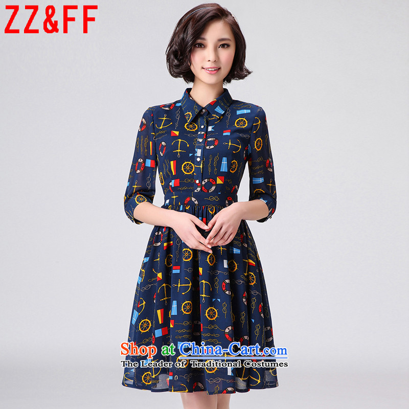 2015 Summer Zz_ff New Gentlewoman Sau San 7 cuff chiffon dresses large燽lue燲XXL LYQ5311 skirt female