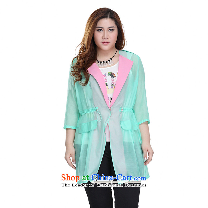The former Yugoslavia Li Sau 2015 Summer new larger elasticated waist women in long-sleeved shirt of 7 air-conditioned jacket coat Q5371 GREEN燲L