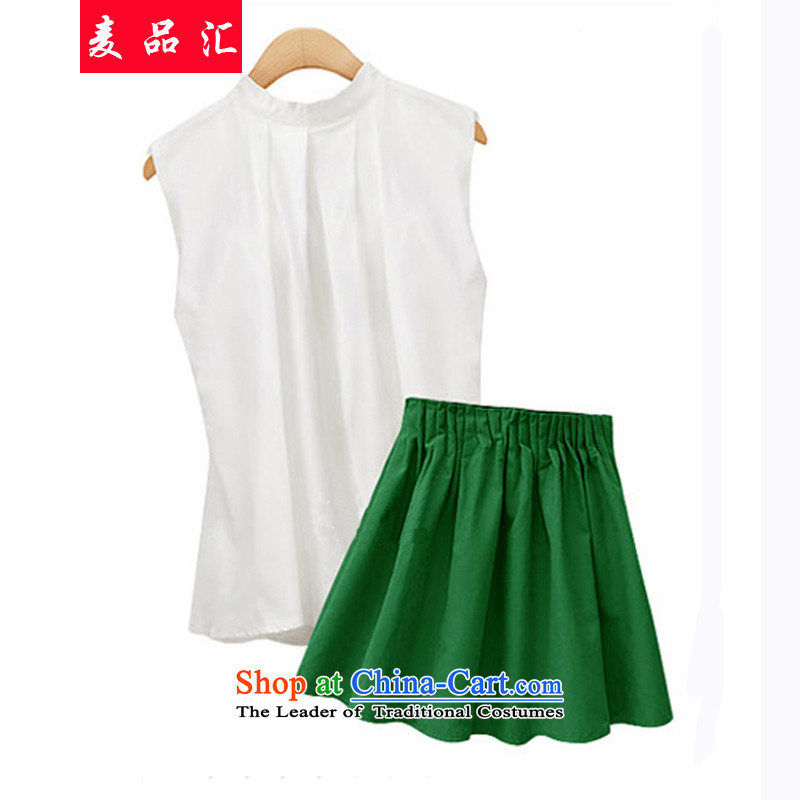 Mr Large removals by sinks for the women of the爊ew Europe and the 2015 Sleeveless T-shirt + Video thin hem short skirt kit thick sister summer to increase�1爂reen short skirts shirt + 4XL