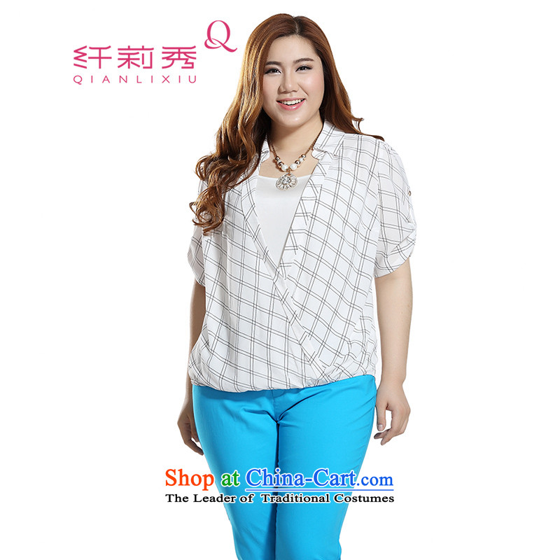 The former Yugoslavia Li Sau 2015 Summer new larger female latticed sweater strap video thin really two plaid chiffon shirt Q7768 rice white�L