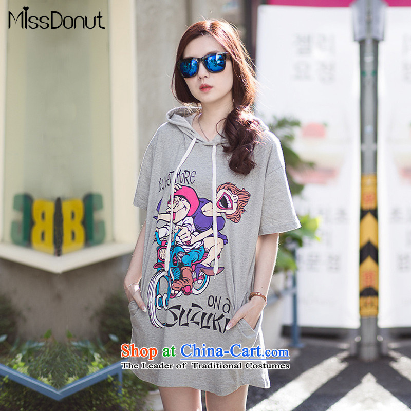 The new summer missdonut2015 to increase women's code 200 catties western thick sister very casual thick mm short-sleeved dresses large gray code XL weight 155-170 catty
