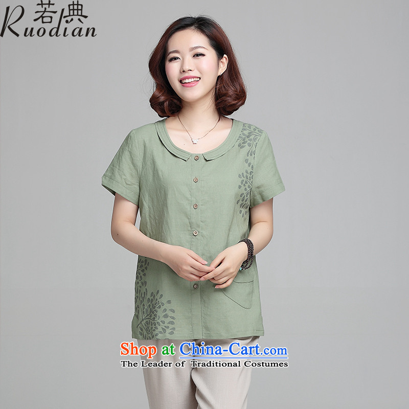 If the code in the number of older women for summer short-sleeved T-shirt relaxd large shirt new stamp T-shirt with flax thin, mom clothes sprouts green燣