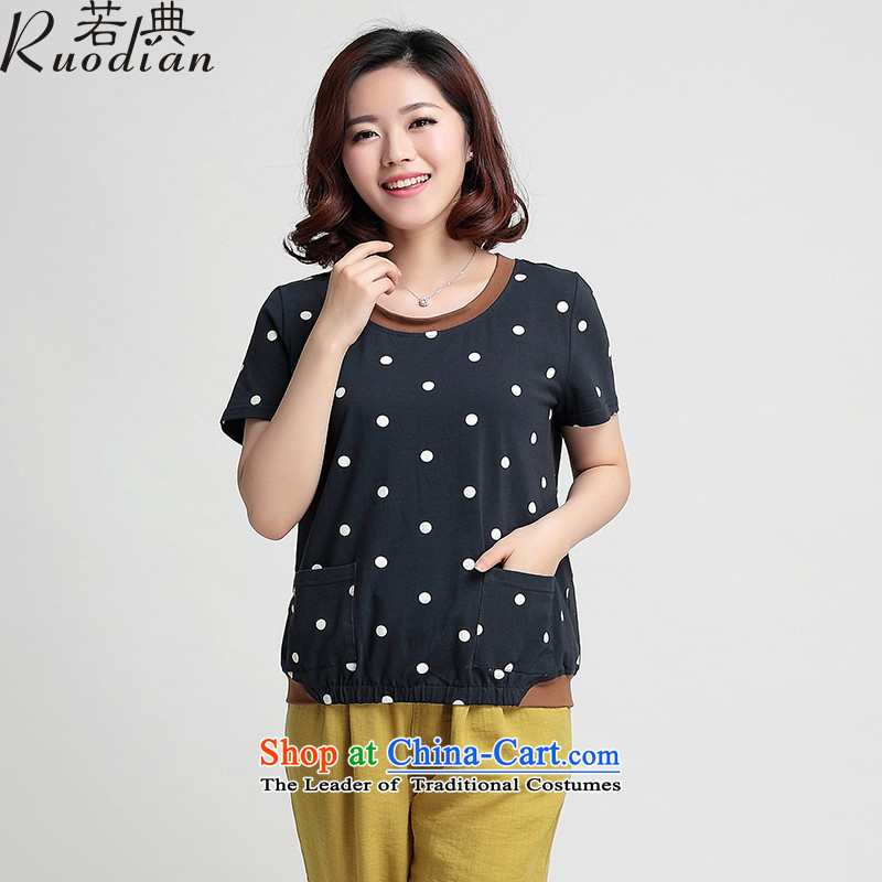 If code women older summer T-shirt with round collar short-sleeved mother short-sleeved middle-aged female-large dot shirts navy燲L