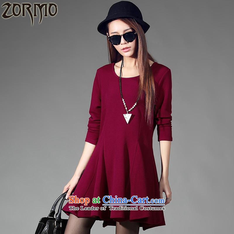 燣arge ZORMO female autumn and winter to xl long-sleeved dresses thick solid elastic skirt mm燚2057 wine red燲XXL 145-165 catty