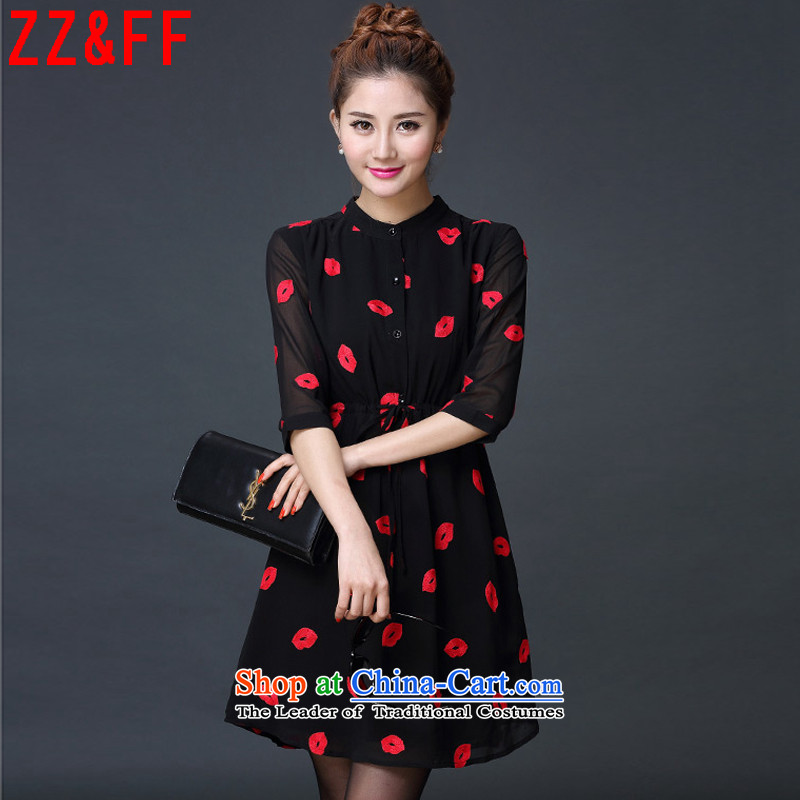 The new summer 2015 Zz_ff Europe version 7 to the maximum number of female decorated cuffs are graphics thin red lips chiffon shirt dresses燪5119燽lack燣