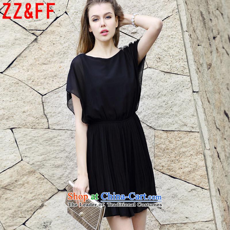 2015 Summer Zz_ff new women's larger thick MM200 catty chiffon video thin dresses燣YQ5121 female燽lack燲XXXXL Summer