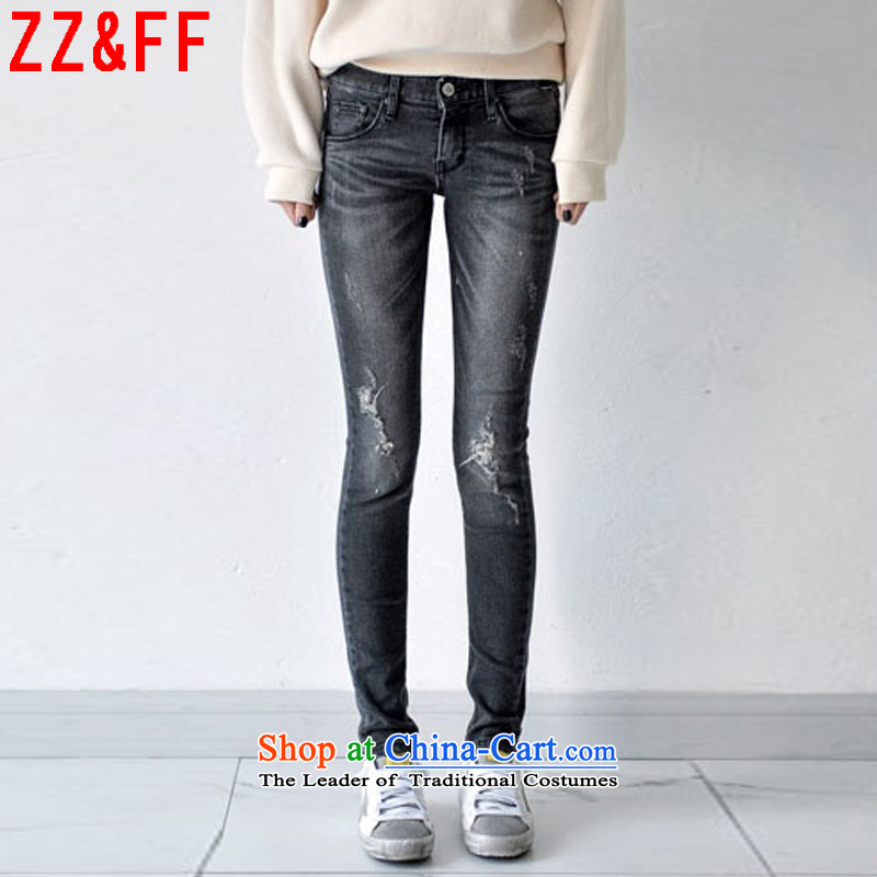 The new summer 2015 Zz_ff large hole in the women's elastic jeans female燦ZK6106爂ray�