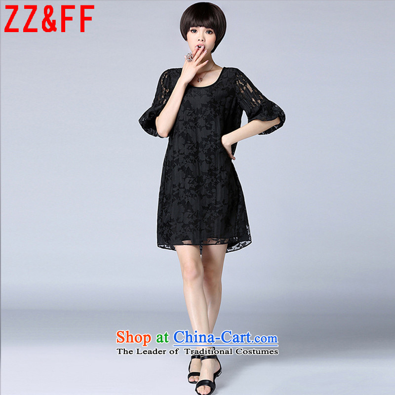 2015 Summer Zz_ff new women in large long lace stitching relaxd dress summer female燣YQ1106燘lack燲L