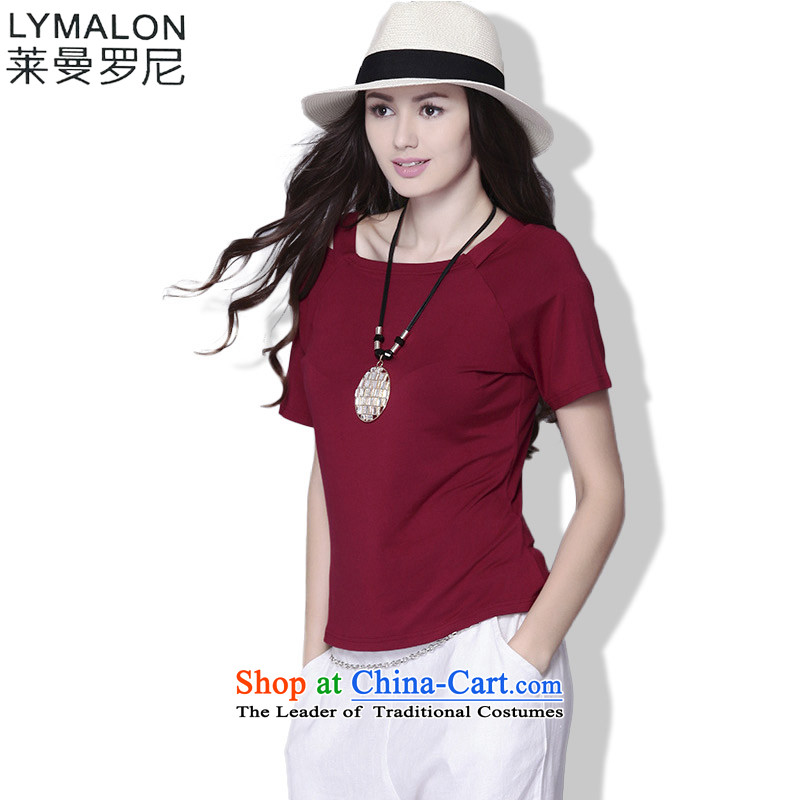 The lymalon Lehmann 2015 Summer new European and American Women's larger sweet pure color graphics thin stylish short relaxd TEE B002 red燲L