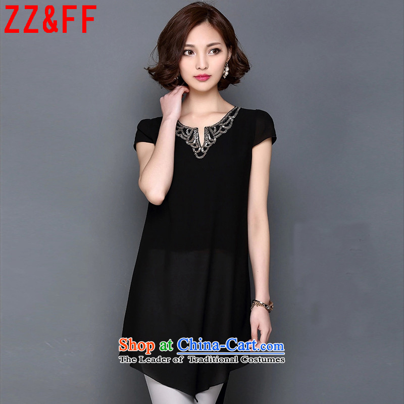 2015 Summer Zz_ff new larger female V-Neck Sau San chiffon shirt female�3燘lack燲XL