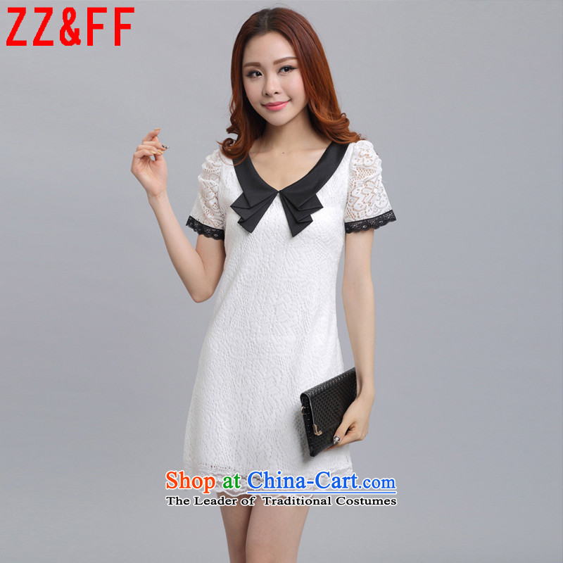 2015 Summer Zz_ff new larger female lace short-sleeved forming the dresses燣YQ583 female爓hite燤