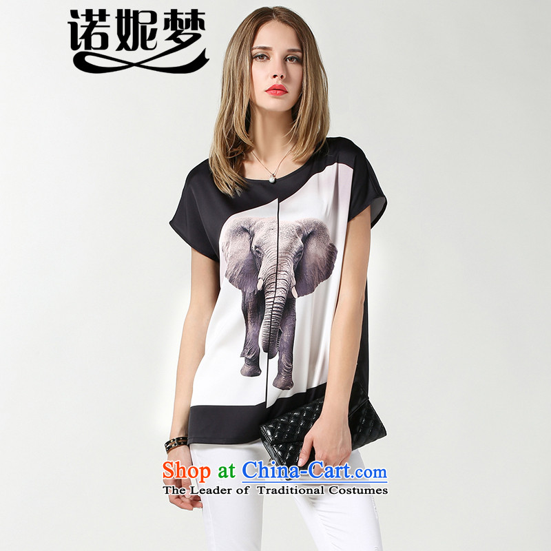 The maximum number of Europe and Connie Women's summer to intensify the 2015 new stamp relaxd elephant mm thick short-sleeved T-shirt female clothes s3631燲XXXL black