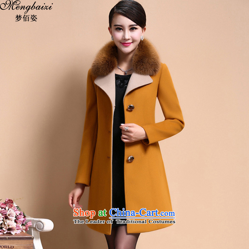 Gigi Lai Bai gross is a dream girl 2015 autumn and winter coats with new large decorated in video thin girl in long coats jacket women gross? DMY345# noble yellow 3XL code