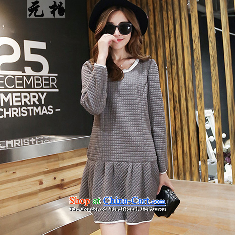 In the autumn of 2015, a new park, thick MM ultra stylish dresses large long-sleeved blouses and forming the map color 7010 3XL skirts around 922.747 150 - 160131