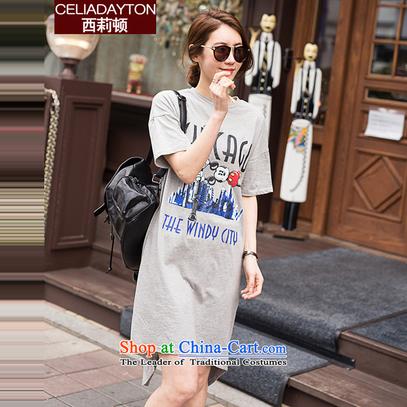 Szili Clinton to increase women's code 2015 new products thick mm sister summer loose short-sleeved sweater pure cotton dress 200 catties Leisure Long skirts of the forklift truck gray燲XL
