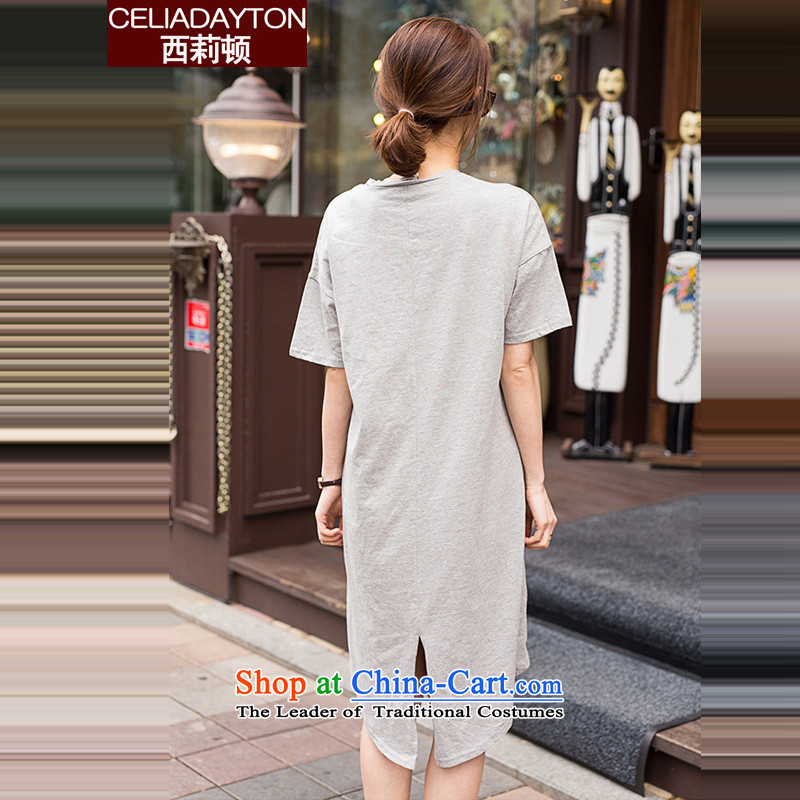 Szili Clinton to increase women's code 2015 new products thick mm sister summer loose short-sleeved sweater pure cotton dress 200 catties Leisure Long skirts of the forklift truck grayXXL, Szili (celia dayton , , , shopping on the Internet