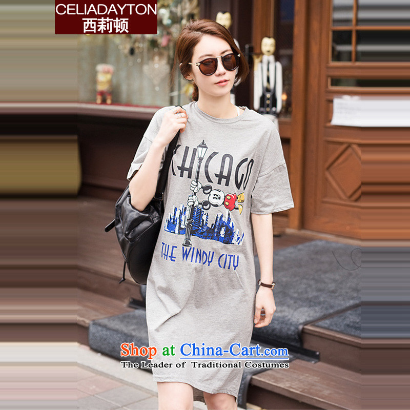 Szili Clinton to increase women's code 2015 new products thick mm sister summer loose short-sleeved sweater pure cotton dress 200 catties Leisure Long skirts of the forklift truck gray XXL, Szili (celia dayton , , , shopping on the Internet