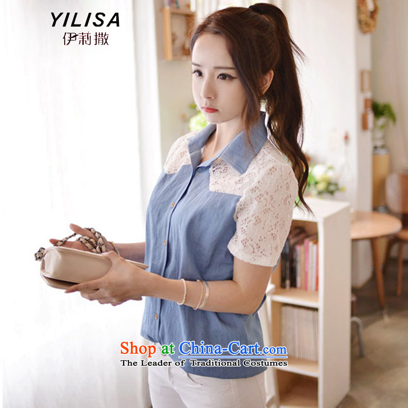 Elizabeth sub-new Korean version of large numbers of ladies summer cowboy stitching lace stylish and cozy summer shirt thick MM video thin fresh leisure short-sleeved shirt H5136 picture color燲L