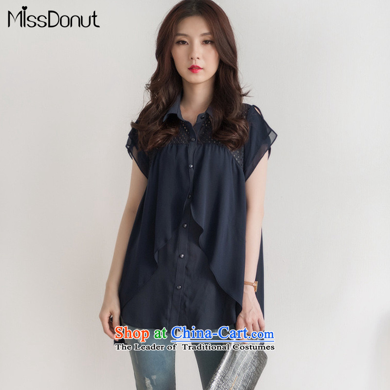 Large missdonut female thick mm thick people summer graphics_ to increase thin code chiffon shirt video thin coat 200 catties shirt, blue shirt larger 3XL