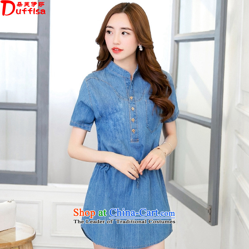 Flower to Isabelle Korean large Sau San denim dress 2015 Amoi Mock-neck Foutune of video, Thin Thin denim dress female D1844 Blue M