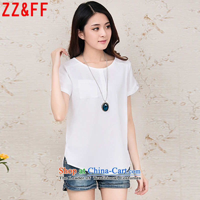 2015 Summer Zz_ff new larger female cotton linen, short-sleeved T-shirt燚X536 female爓hite燲XXXXL