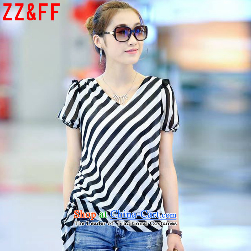 2015 Summer Zz_ff new larger female thick mm loose streaks, forming the t-shirt t-shirt female white燬