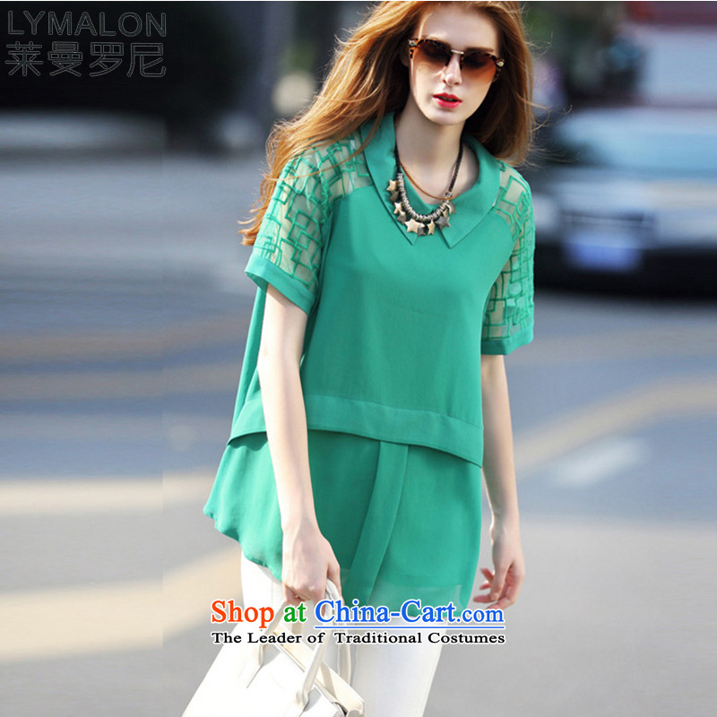 The lymalon2015 lehmann summer new liberal women's large stylish sexy lace stitching graphics thin chiffon shirt T-shirt 7,104 male green燣