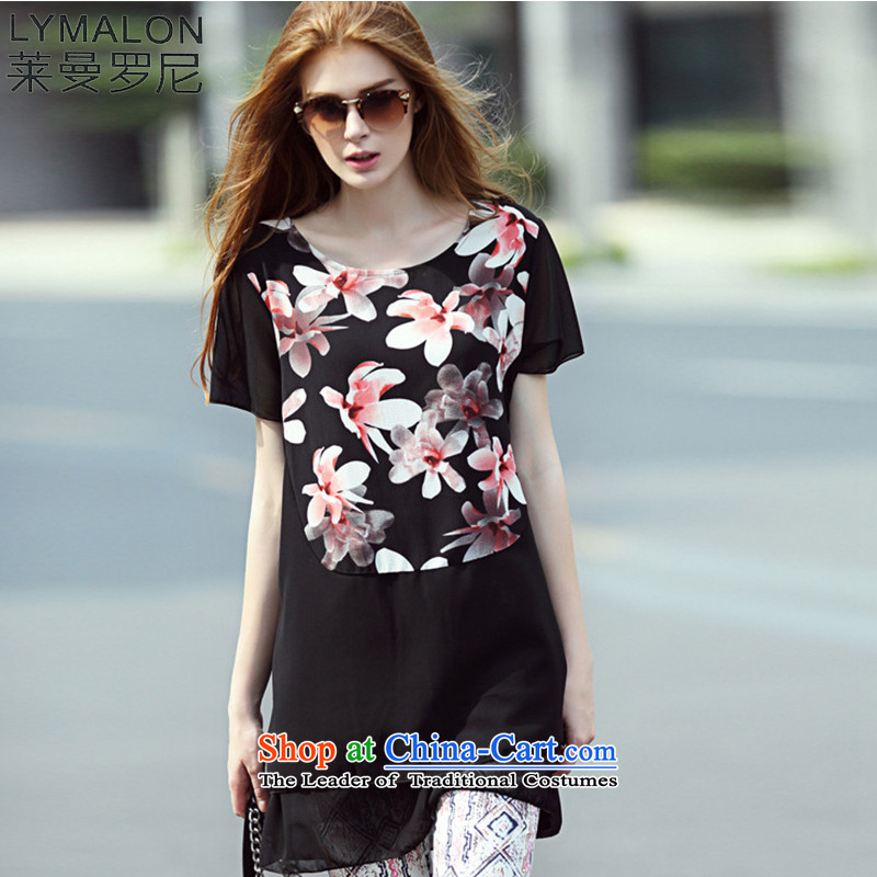 The lymalon Lehmann 2015 Summer new very casual dress code large lily round-neck collar short-sleeved chiffon skirt燲XXL 7105 Black