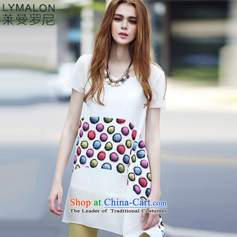 The lymalon Lehmann 2015 Summer new western very casual dress code large color stone round-neck collar chiffon skirt 7106 White燲L